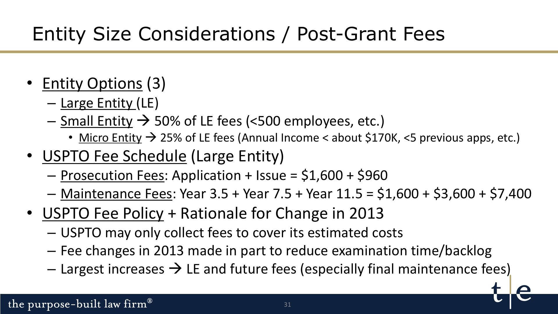 USPTO fee