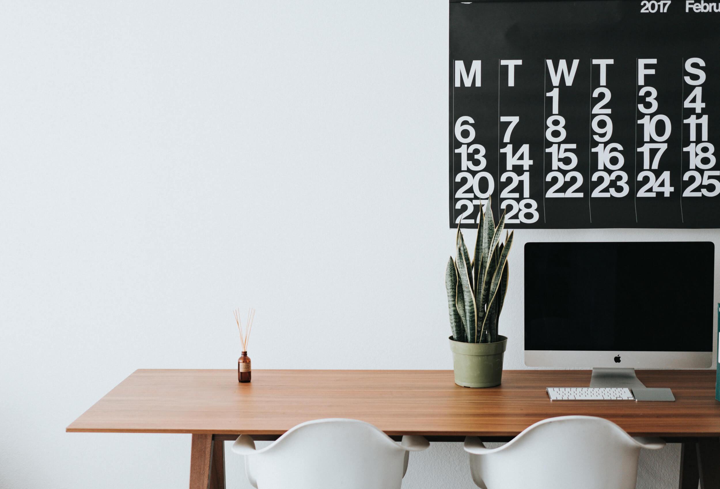computer desk and calendar